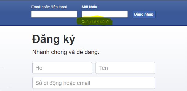 quên mật khẩu facebook