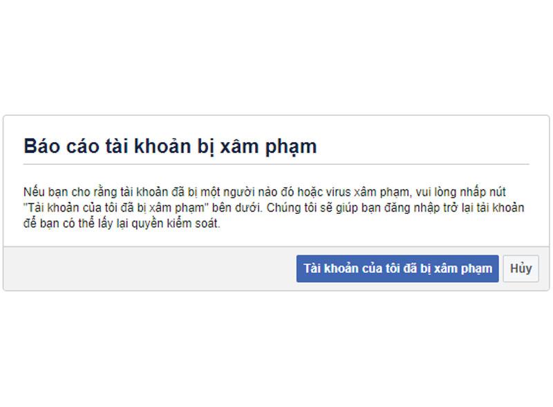 Báo cáo tài khoản bị xâm phạm với Facebook