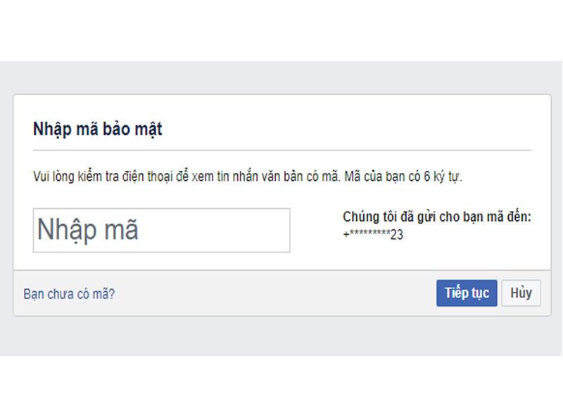 Nhập mã hệ thống facebook gửi về số điện thoại của bạn